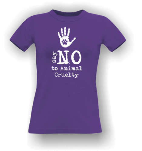 Say NO To Animal Cruelty - Paw in hand. T-Shirt (Adult)