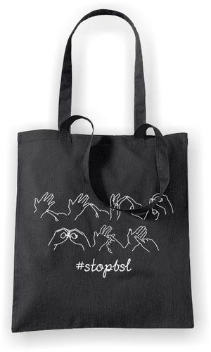 Stop BSL in Sign Language - Tote Bag