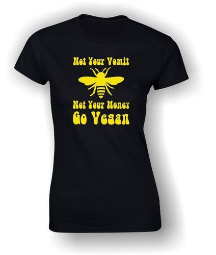 Not Your Vomit Not Your Honey - Go Vegan - Adult t-shirt - Black